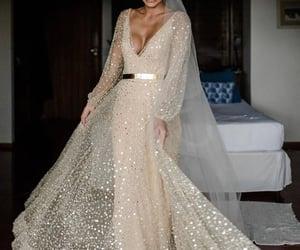 beige, wedding dress, and wedding gown image
