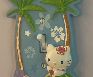 aesthetic, hello kitty, and palm trees image