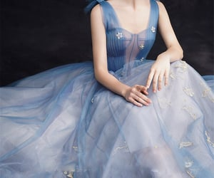 ball gown, beauty, and blue image