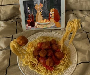 movie, pasta, and chill image