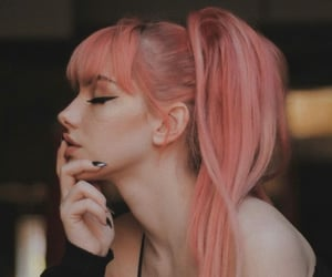 dyed hair, girl, and pink image