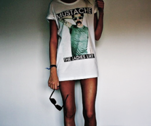 girl, mustache, and legs image