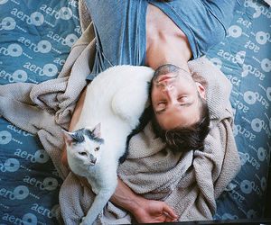 bed, cat, and boy image