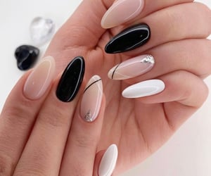 black and white, Nude, and nude nails image