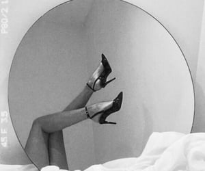black and white, black heels, and fancy image