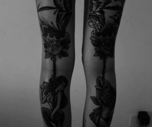 tattoo, legs, and mermaid image