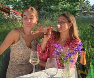 drink, flowers, and friends image