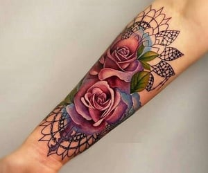 art, flowers, and tattoo inspo image