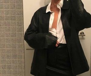 black skirt, fashion, and white shirt image
