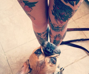 tattoo, dog, and legs image