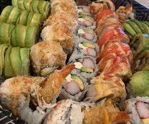 food, yum, and sushi image
