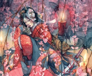 art, japanese, and paintings image