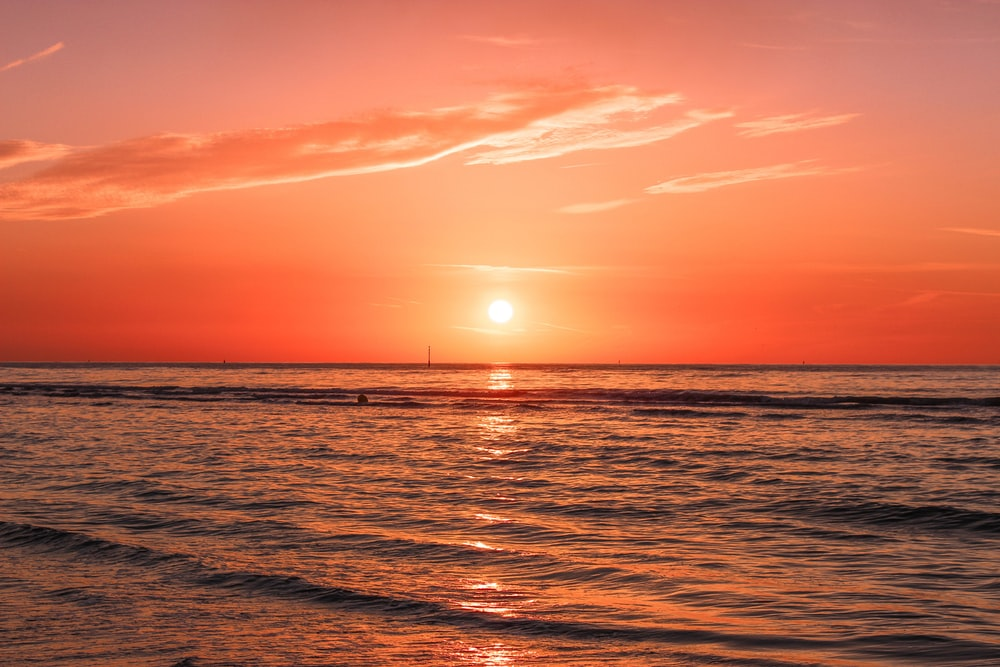 the ocean, sun rise, and very pretty image