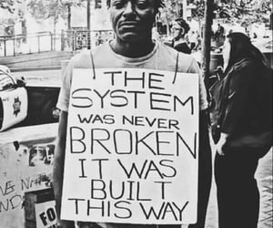 b&w, protest, and sign image
