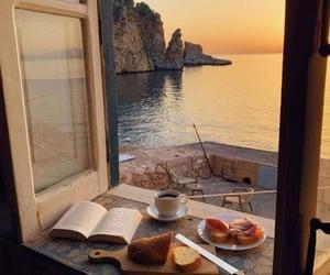 book, sea, and coffee image