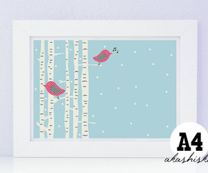 birds, wall art, and cute illustration image