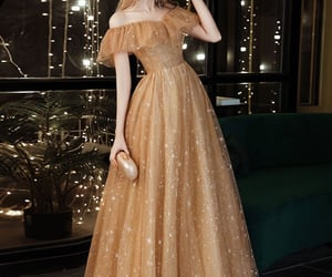 dress, dresses, and gold image