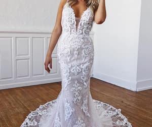 vintage wedding dress, wedding dress, and white wedding dress image