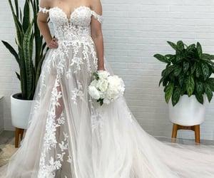 fashion, applique wedding dress, and wedding image