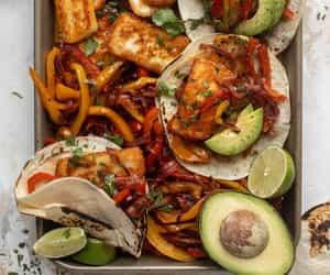 dinner, food, and fajitas image