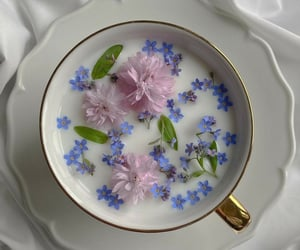 flowers, drink, and coffee image