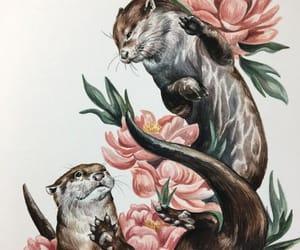 animals, art, and flowers image