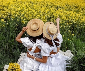 besties, fashion, and flowers image