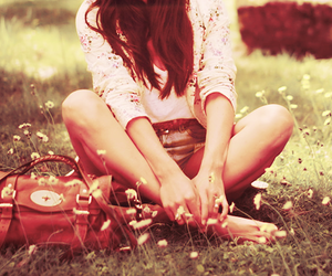 girl, flowers, and bag image