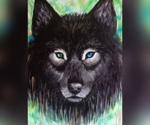 blueeyes, blackwolf, and canvaspainting image