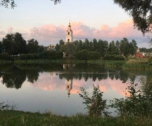 church, lake, and sunset image