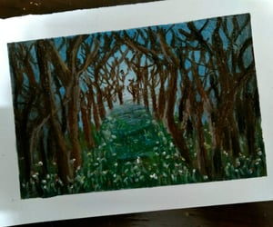 drawing, forest, and oil pastel image