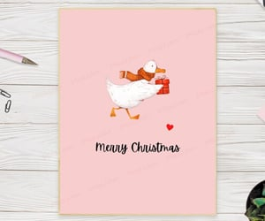 etsy, winter greeting card, and festive animal card image