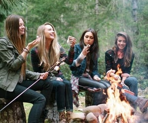 friends, fire, and camping image