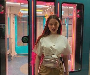 girl, subway, and lights image