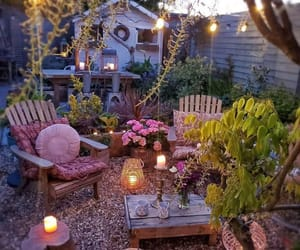 backyard, outdoor furniture, and outdoor living image