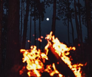 fire, moon, and nature image