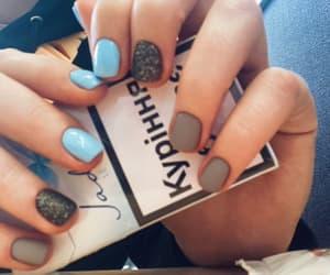 nails, baby blue, and grey image