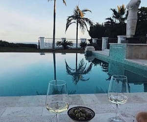 pool, summer, and wine image