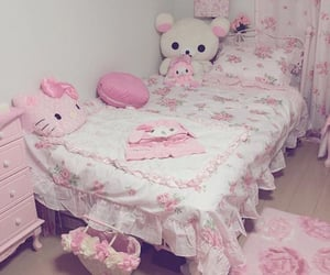 hello kitty, melody, and bedroom image