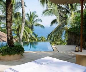 beach, ocean, and terrace image