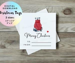 merry christmas card, christmas gift wrap, and coffee gift tag image