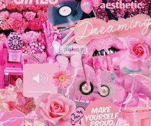 aesthetic, mixed media, and pink flowers image