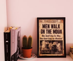 books, moon, and picture image