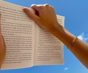 books, outside, and reading image