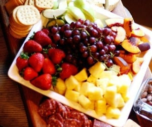 board, strawberries, and cheese image