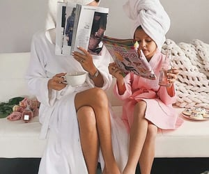 daughter, magazine, and dressing gown image