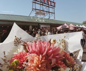 flowers, orange, and pike place market image
