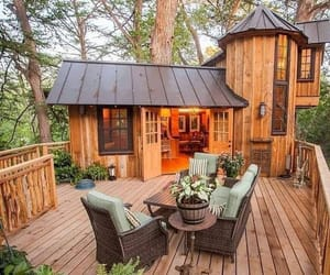 cabin, forest, and architecture image