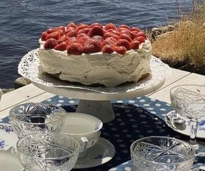 strawberry cake, cake, and summer image