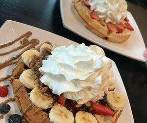 breakfast, waffles, and banana image